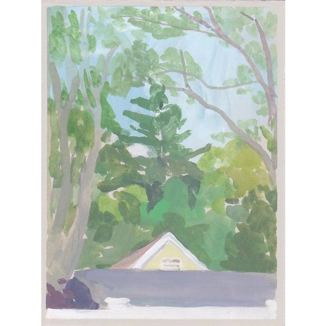 "Michelle Farro Michelle Farro ""Aunt Janet's Backyard"" Original Painting For Sale - Image 4 of 4"