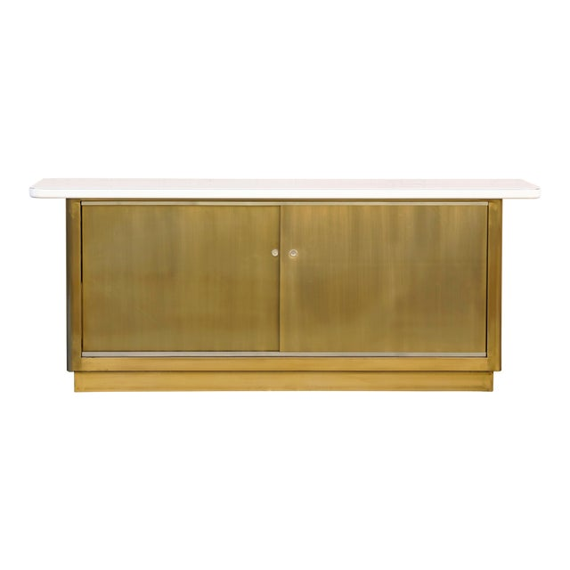Custom Tanker Style Steel Credenza in Brass and White Finish For Sale