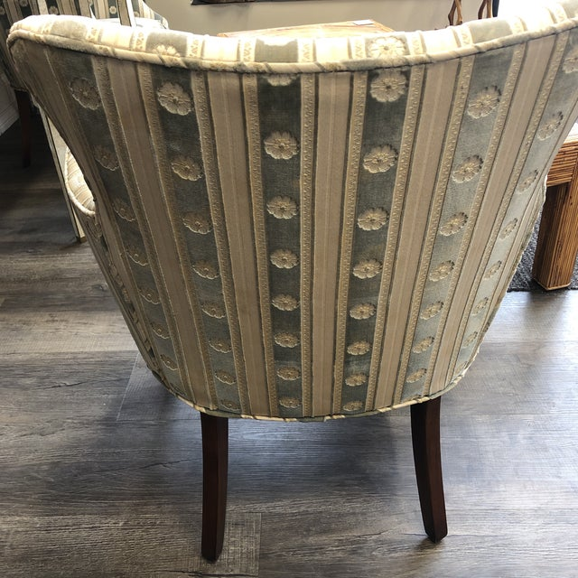 1940s Cream & Blue Velvet Boudoir Chairs - a Pair For Sale In Chicago - Image 6 of 10