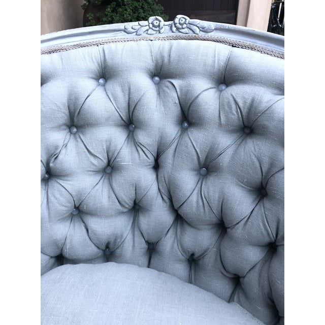 1960s Vintage Silver Tufted Loveseat/ Chaise For Sale - Image 4 of 6