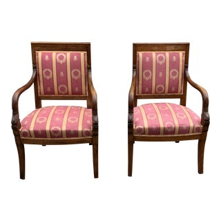 1900s Vintage French Empire Style Solid Mahogany Accent Chairs- a Pair For Sale