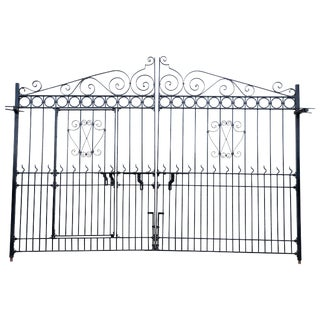 1920s Vintage Hand-Forged Monumental Steel Gate For Sale