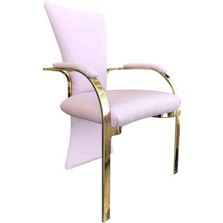 1980s Vintage Postmodern Pink and Brass Vanity Chair For Sale