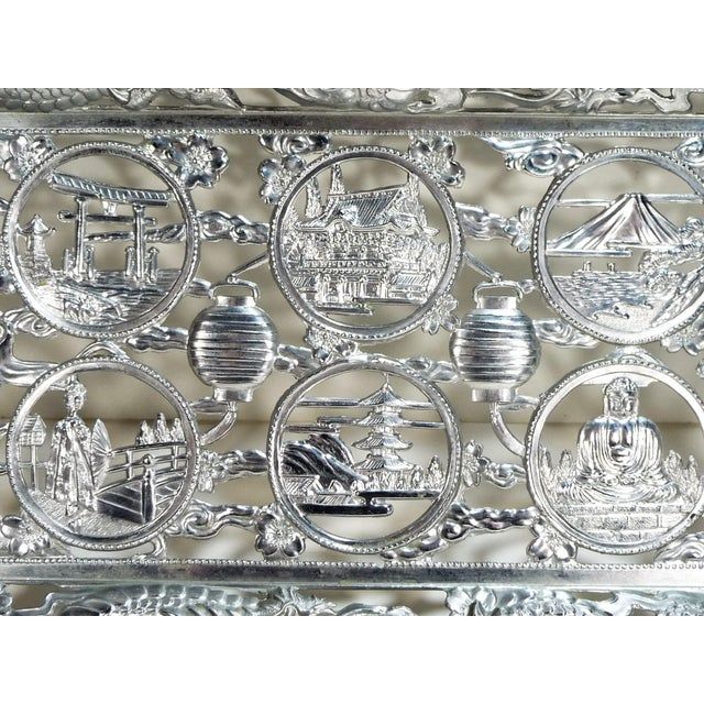 Vintage Asian Dragon Theme Chrome Tray With Matching Cobalt Cordial Glasses - Set of 7 For Sale - Image 4 of 11