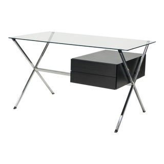 Franco Albini Glass Wood Chrome Desk for Knoll International 1950 For Sale