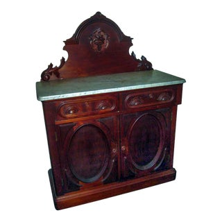 19th Century Victorian Walnut Server Sideboard With White Marble Top For Sale