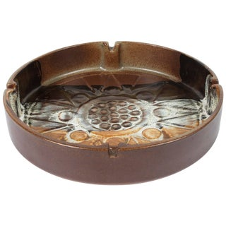 Large Vintage Brown Round Ceramic Ashtray For Sale