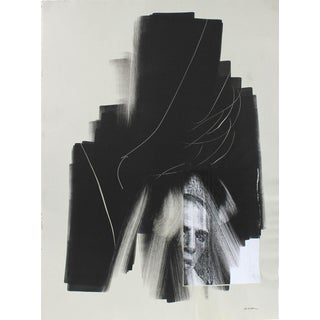 Calvin Anderson Abstracted Portrait Monotype and Collage on Paper Late 1990s- Early 2000s For Sale