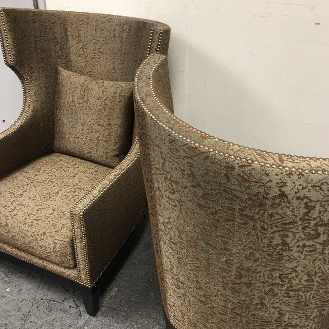 Brown Ironies Tule Lounge Chairs- a Pair For Sale - Image 8 of 13