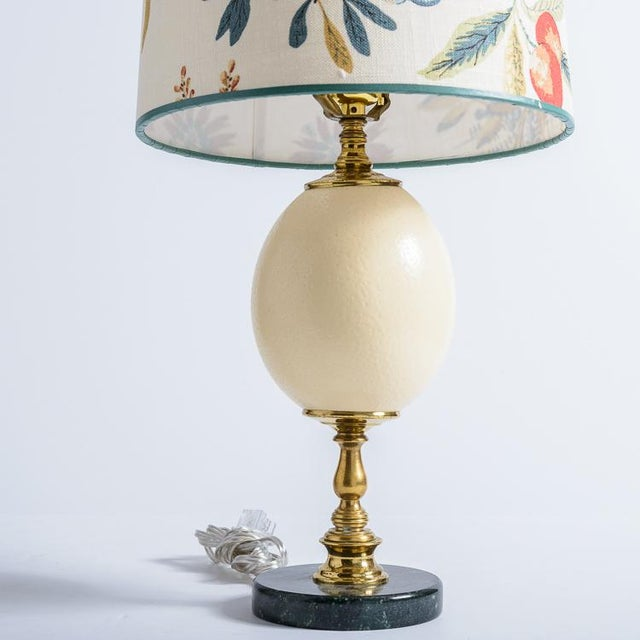 French Antique French Ostrich Egg Table Lamps With Brass & Marble Base, A-Pair For Sale - Image 3 of 13