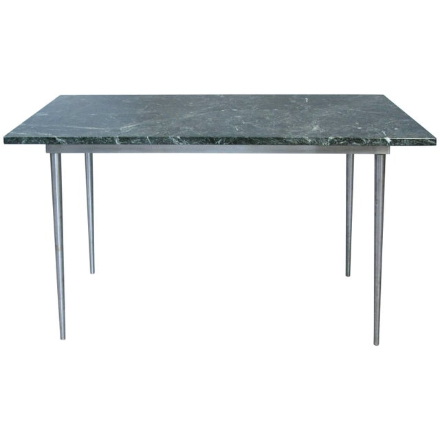 Dark Green Vintage 1960s Steel and Green Marble Top Table For Sale - Image 8 of 8