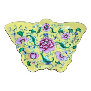 Yellow Asian Enamel Floral Butterfly Trinket Dish For Sale
