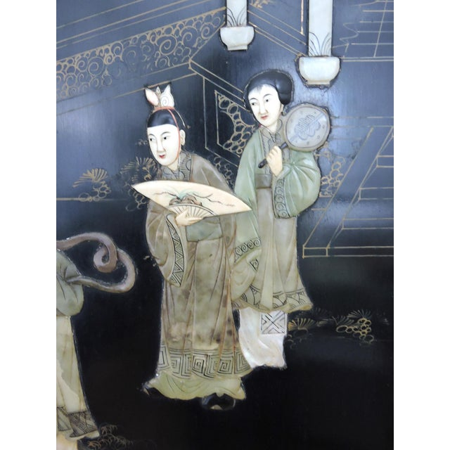 Metal Antique Chinese Black Lacquer & Jade Screen / Room Divider, Garden Pavilion & Noble Ladies For Sale - Image 7 of 11