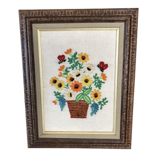 1960's Framed Crewel Flower Basket Embroidery