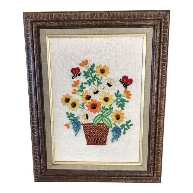1960\'s Framed Crewel Flower Basket Embroidery | Chairish
