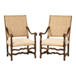 Antique French Os De Mouton Solid Oak Throne Chairs - A Pair For Sale