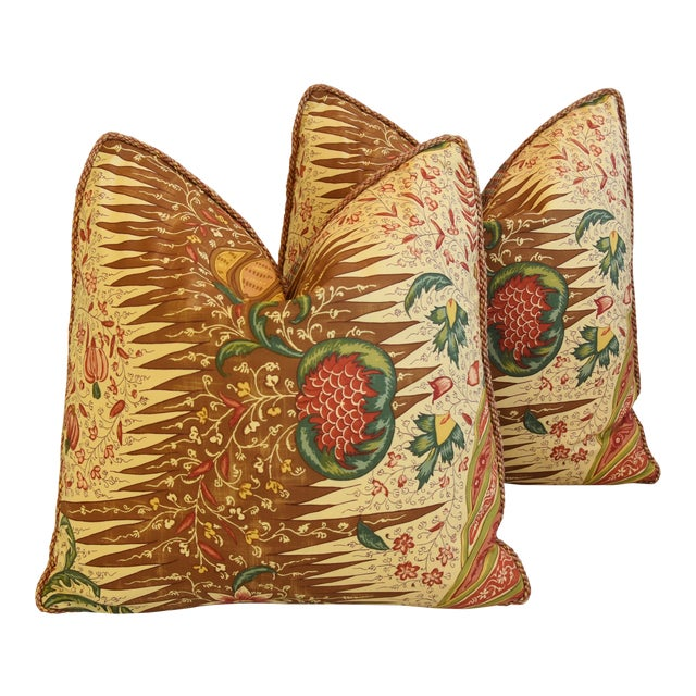 """French Pierre Frey La Riviere Feather/Down Pillows 21"""" Square - Pair For Sale"""