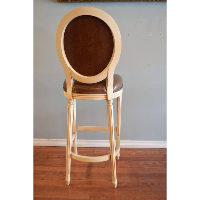Louis XVI Style Painted Oval Back Bar Stool for Custom Order For Sale - Image 4 of 9