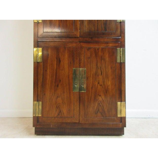 Henredon Campaign Oak Armoire Wardrobe - Image 5 of 6