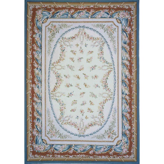 """Contemporary Pasargad Aubusson Hand Woven Wool Rug - 8' 0"""" x 10' 5"""" For Sale - Image 3 of 3"""