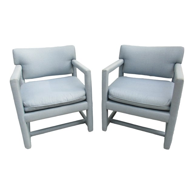 Late 20th Century Parsons Style Arm Chairs -A Pair For Sale