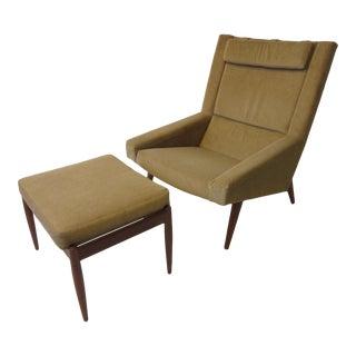 Illum Wikkelso for Willadsen Danish Lounge Chair & Ottoman For Sale