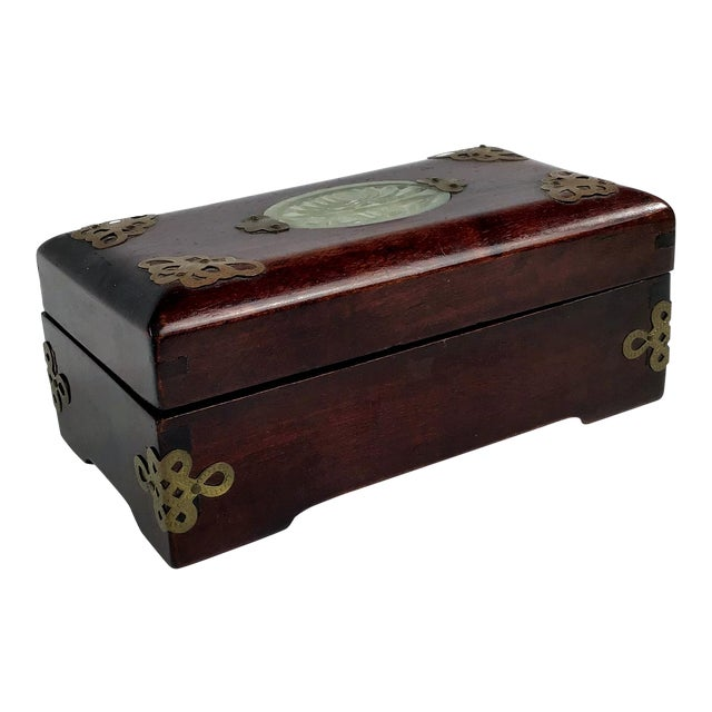 1920s Chinese Jade & Rosewood Cigarette Box For Sale