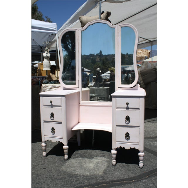 Vanity 1920's With Full Length Mirror in Pink - Image 2 of 7