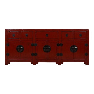 Huge Chinese Antique Red Lacquered Sideboard / Buffet Table