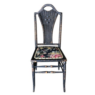 Black Victorian Southern Gothic Wicker Back Side Chair For Sale