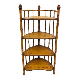 Antique Victorian Scorched Bamboo Shelf For Sale