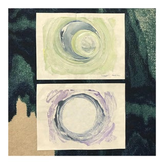 La Luna / Crescent Diptych Original Monotype Ink Paintings on Mulberry Paper - Set of 2 For Sale