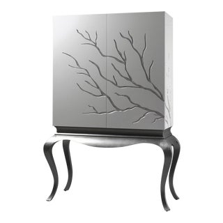 White Wardrobe with Led Light Interior and Branch Decor by Maria J Guinot for CA Spanish Handicraft For Sale