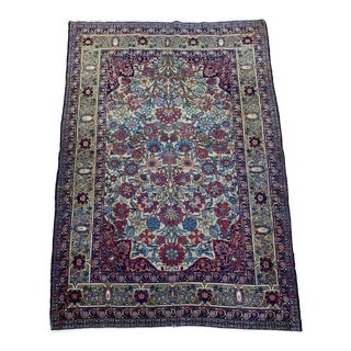 """Antique Persian Lavar Kerman Rug - 4'4"""" x 6'4"""" For Sale"""