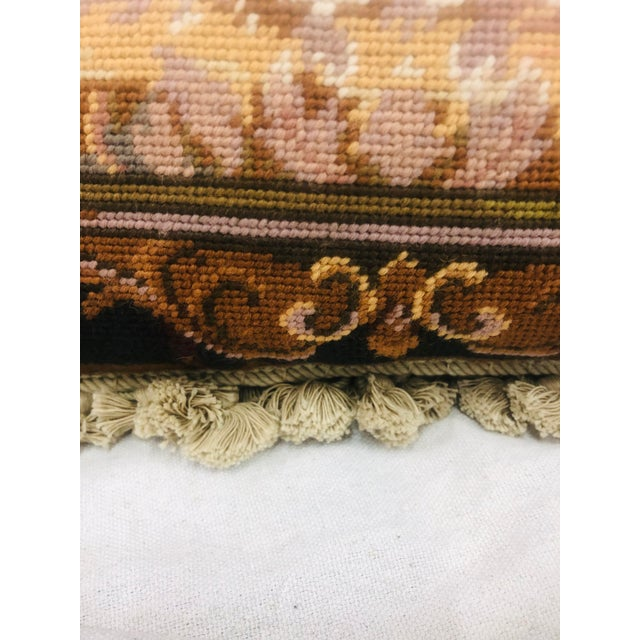 Textile Vinatge Needlepoint With Tassel Trim Pillow of Bulldog For Sale - Image 7 of 13