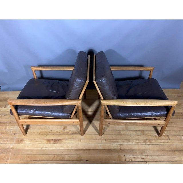 Mid-Century Modern Pair Erik Wørts Solid Oak & Leather Lounge Chairs, Sweden 1960s For Sale - Image 3 of 12