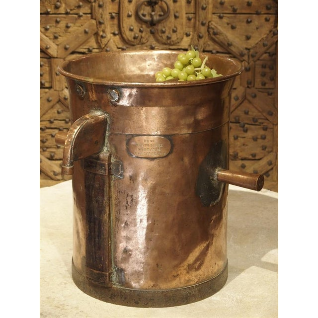 Antique Copper 50 Liter Wine Vessel from Carcassonne France, Circa 1850 For Sale - Image 9 of 9