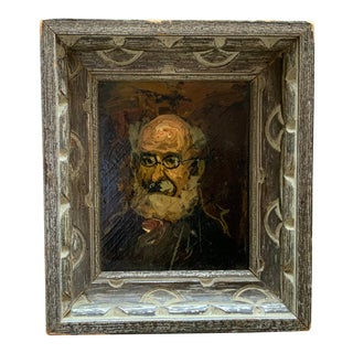 Modern Miniature Portrait Painting of Bearded Man For Sale