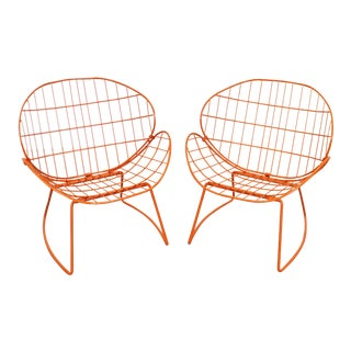 Mid-Century Modern Salterini Style Clam Shell Outdoor Patio Chairs - a Pair For Sale