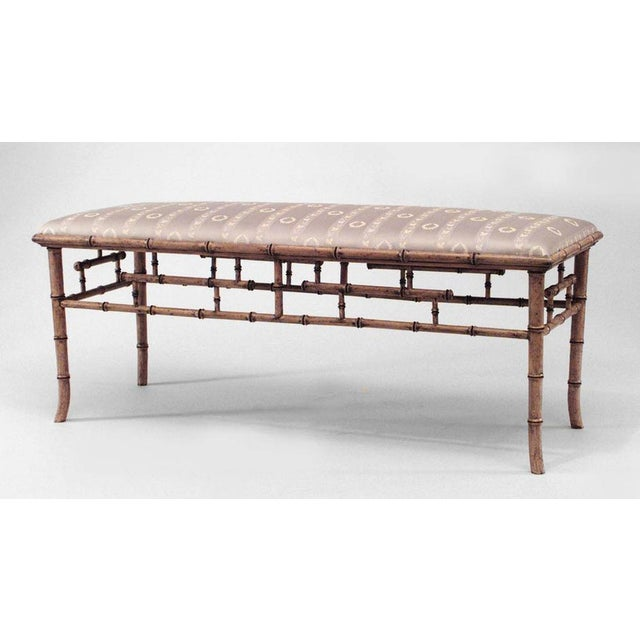 Hollywood Regency English Regency Style '20th Century' Faux Bamboo Painted Bench For Sale - Image 3 of 3
