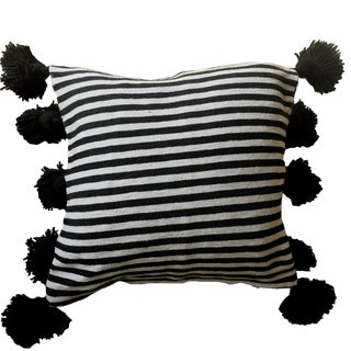 Black & White Striped Pompom Pillow Cover For Sale