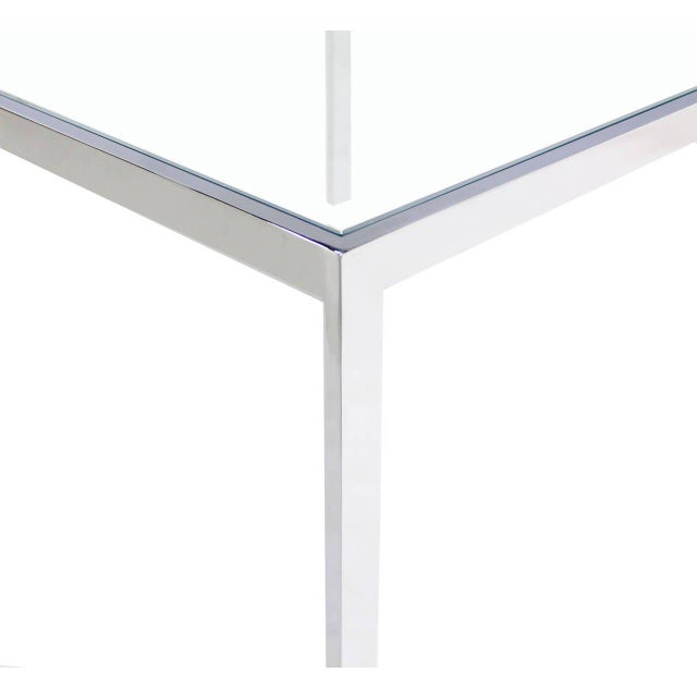 Square Chrome & Glass Side Table For Sale In New York - Image 6 of 8