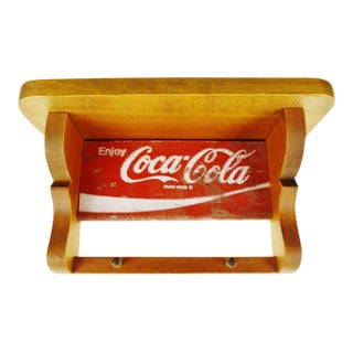 Vintage Folk Art Coca Cola Wood Wall Shelf Coat Rack For Sale
