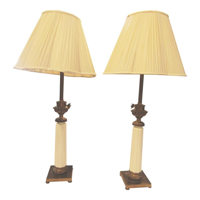 Vintage Stiffel Tapered Ceramic Lamps - A Pair - Image 1 of 5