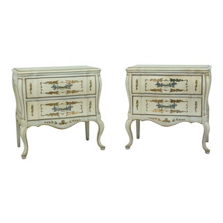 Pair Venetian Paint Decorated Nightstands For Sale