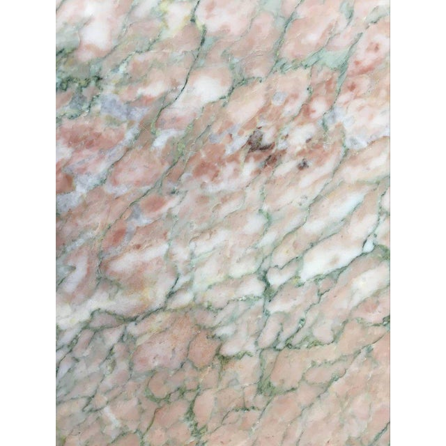 Hexagonal Shape Polished Blush Pink Marble Pedestal For Sale In Palm Springs - Image 6 of 8