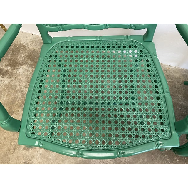 Wood Vintage Green Lacquered Cane Chairs - a Pair For Sale - Image 7 of 13