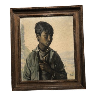 Amalio García Del Moral Portrait of Young Man With Pipe For Sale