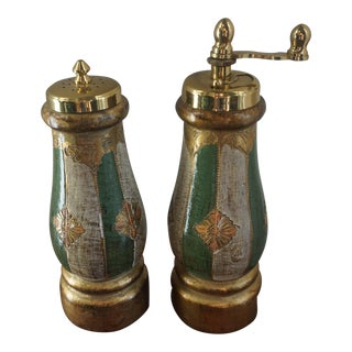 1950s Vintage Italian Wood Salt & Pepper For Sale
