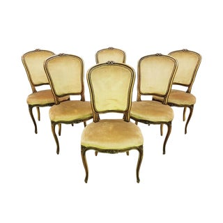 Vintage Set of Six French Louis XV Style Long Back Dining Chairs Velvet Beige Gold Original Upholstery For Sale